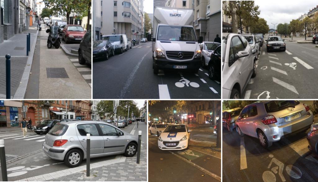 Collection de stationnements dangereux pour les cyclistes en attendant les ASP